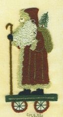 Folk Santa on WheelsCheryl Mihills/Homespun Designs for Punch Needle - Product Image