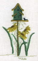 Birdhouse & SunflowersCheryl Mihills/Homespun Designs for Punch Needle - Product Image