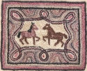 Two Horses Primitive RugKaren Amadio Gates Folk Art Designs - Product Image